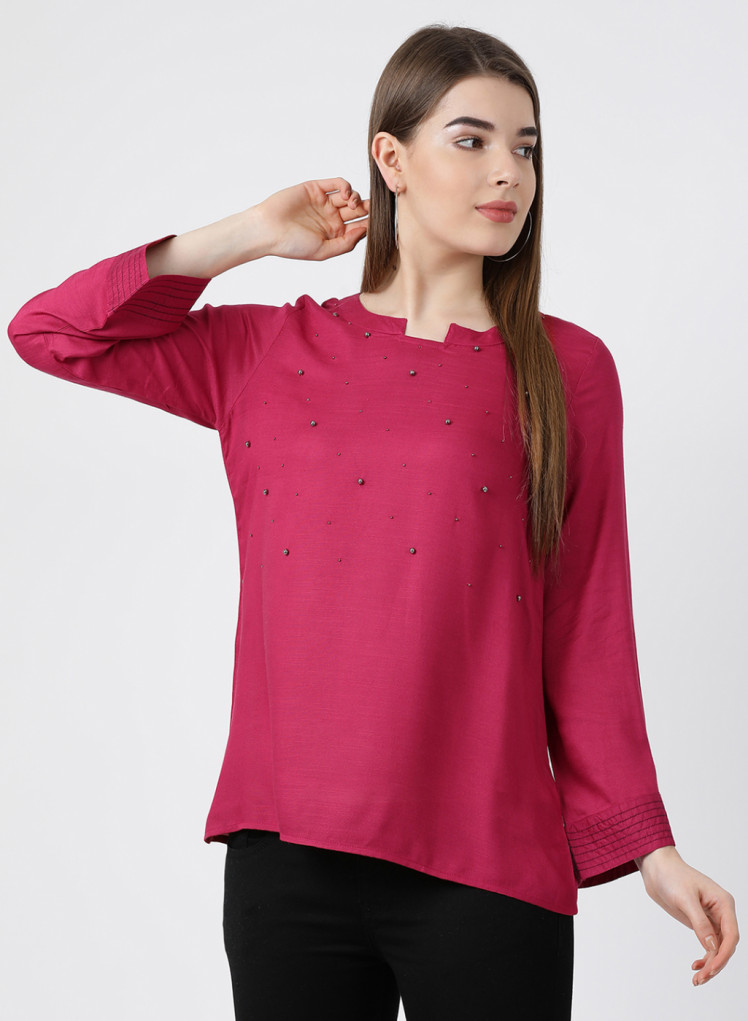 a2a91a1107b Buy Monte Carlo Pink Solid Round Neck Top Online in India - Monte Carlo