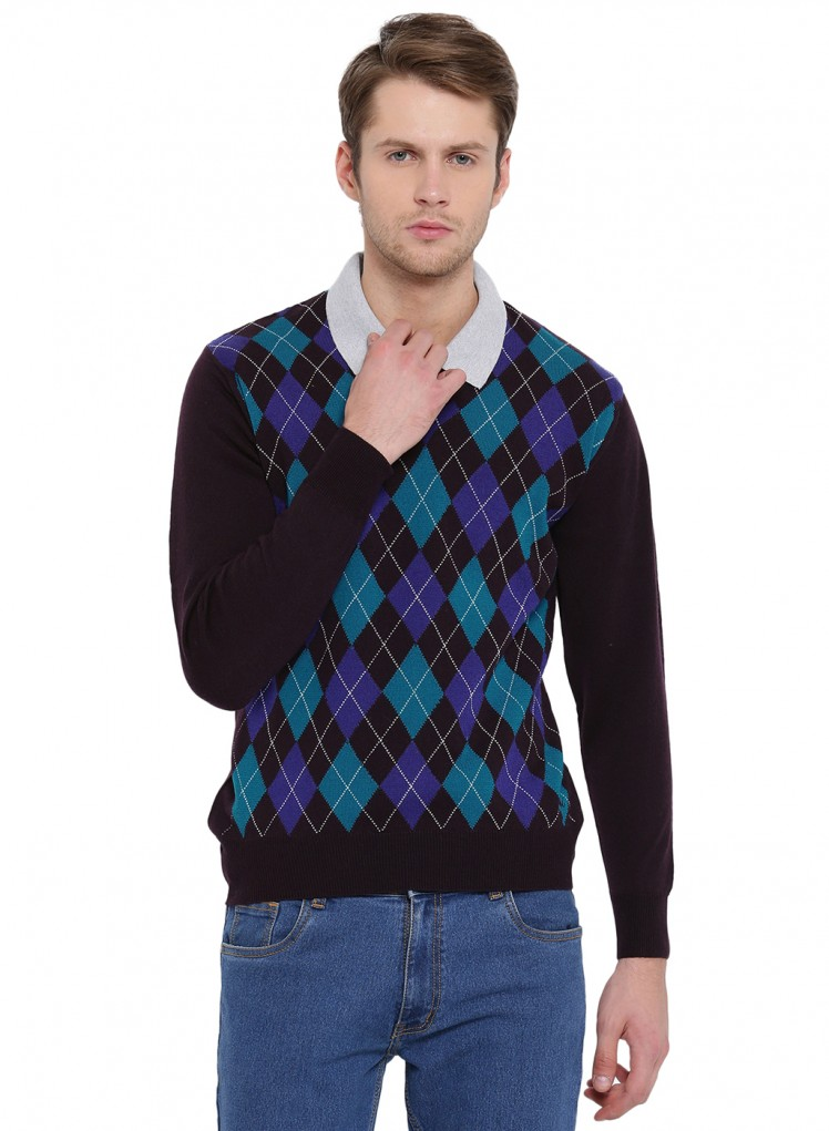 8ff59a96bcc Buy Navy Blue Printed V Neck Pullover Online in India - Monte Carlo