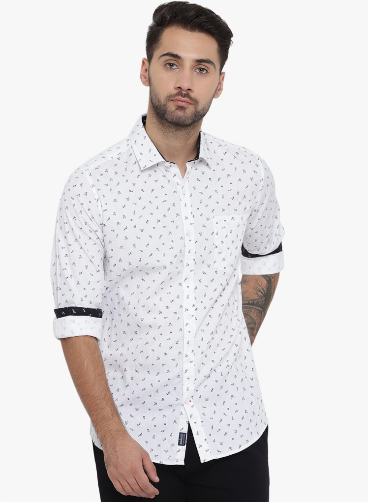 53fc4b70b0e Buy White Printed Collar Shirt Online in India - Monte Carlo