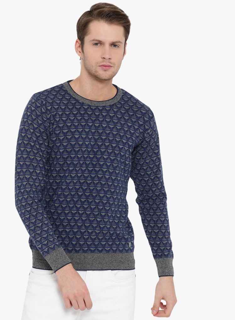 3b32d6d0063 Buy Navy Printed Round Neck Pullover Online in India - Monte Carlo