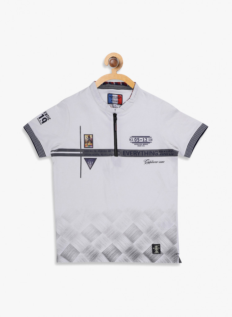 733e7caf Buy Monte Carlo Boys White Printed Collar T Shirt Online in India ...