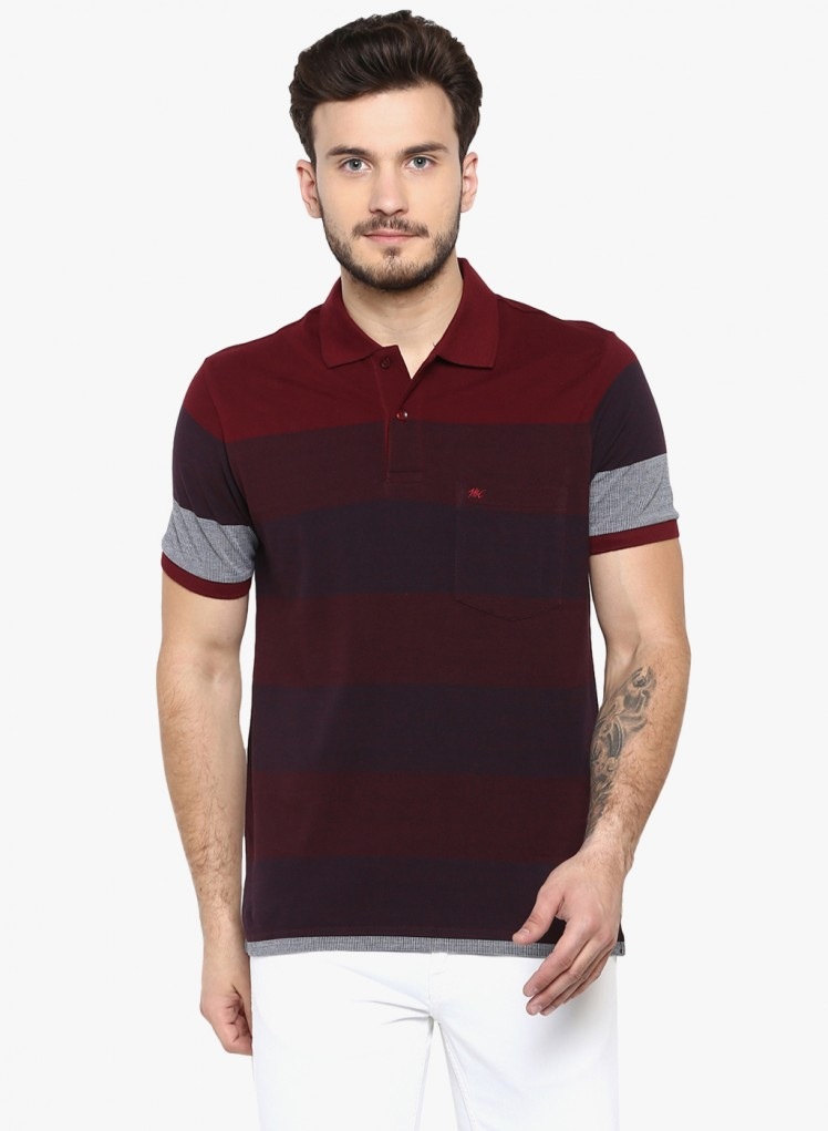 b2297704 Buy Monte Carlo Maroon Striped Polo T Shirt Online in India - Monte ...