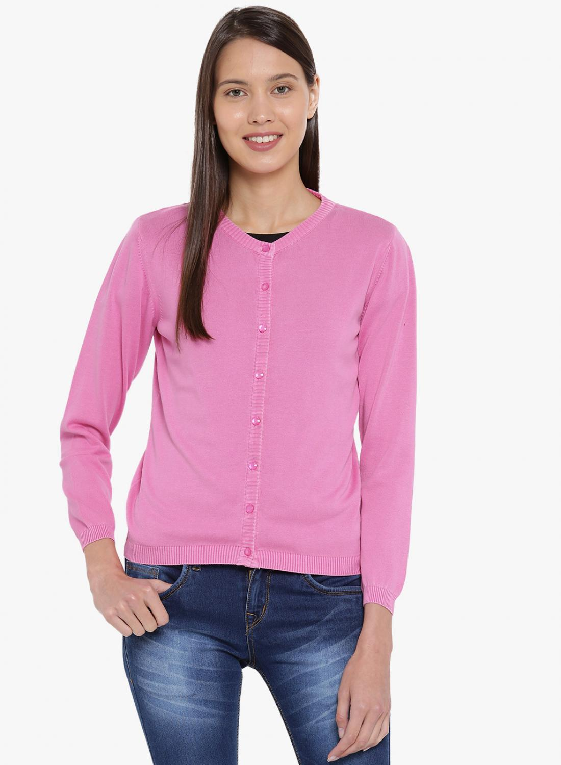 fcd649c35b3 Buy Pink Solid Round Neck Cardigan Online in India - Monte Carlo